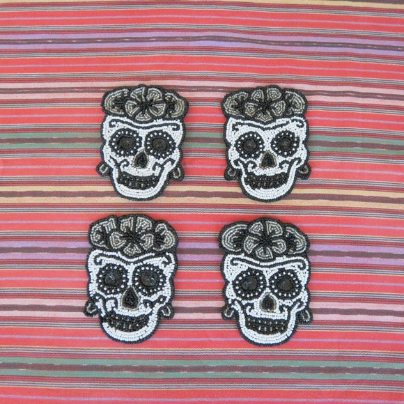 no brand Other - Set of 4 Day Of The Dead Beaded Coasters